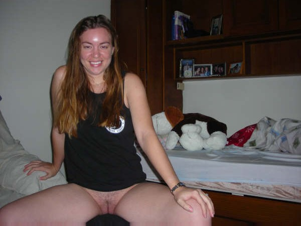 Legs excited girl spreads