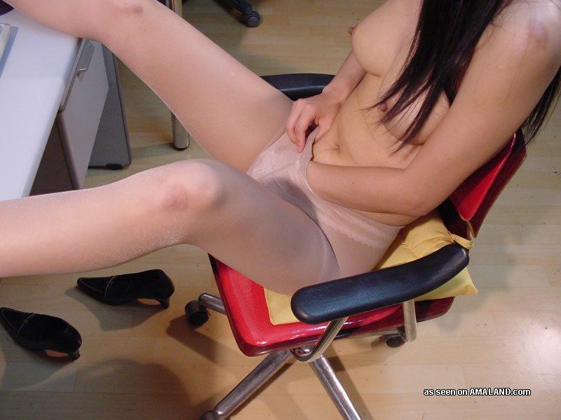 Sexy Asian Office Girl With Busty Tits Stripping At Work -8359